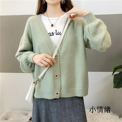 Women Loose V Neck Wool Winter Fashion Sweater Cardigan