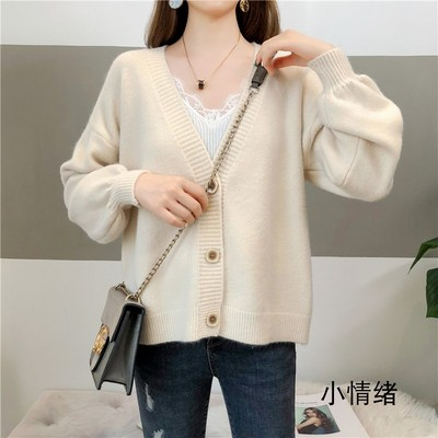 Women Loose V Neck Wool Winter Fashion Sweater Cardigan
