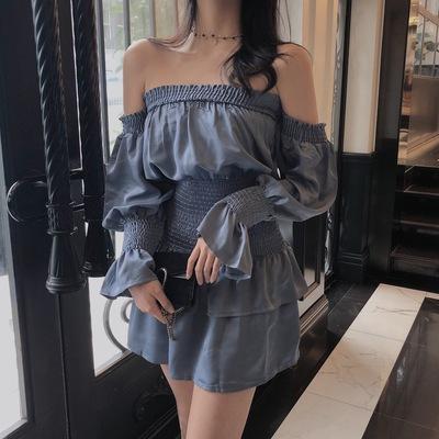 Women Low Off Shoulder Sexy Fashion Ruffles Mini Dress