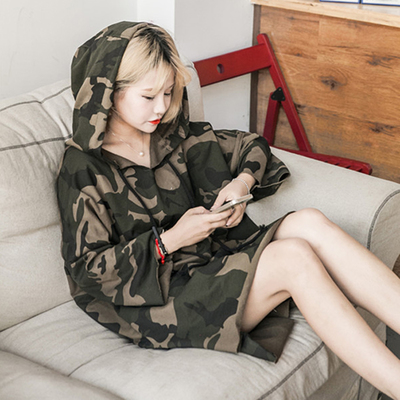 Korean Casual Camouflage Long-sleeved T-shirt