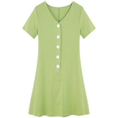 Women V Neck Big Button Mini Fashion Plus Size Dress