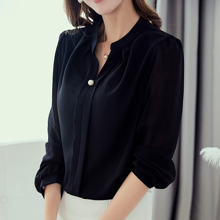 Women Solid Color Casual Long Sleeve Office Fashion Plus Size Blouse