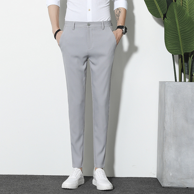 Men Straight Cut Formal Attire Fashion Office Trousers
