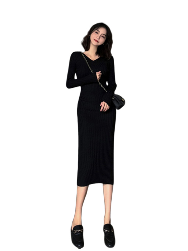 Women Autumn and Winter Long-Sleeved Knit Mid-Length Slim Dress