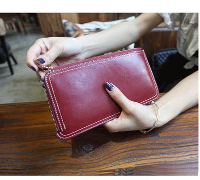 Women's Leather Simple Zipper Wallet