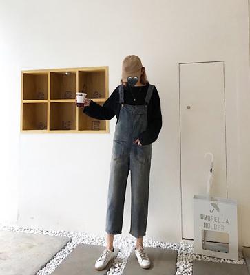 Women Casual Retro Denim Cropped Pants Overalls Jumpsuit