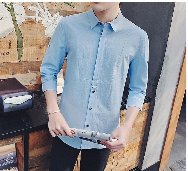 Men's Clothing Five Point Sleeve Clothes Summer Trend Slim Shirt