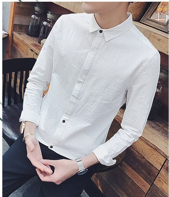 Men\'s Clothing Five Point Sleeve Clothes Summer Trend Slim Shirt