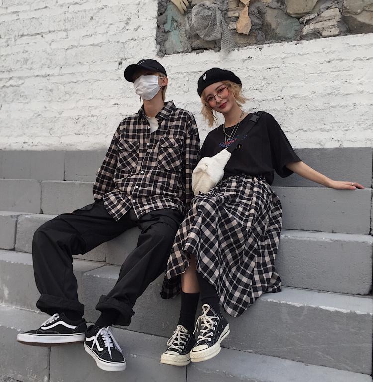 Men and Women Couple Retro Loose Plaid Longsleeve + High Waist Skirt