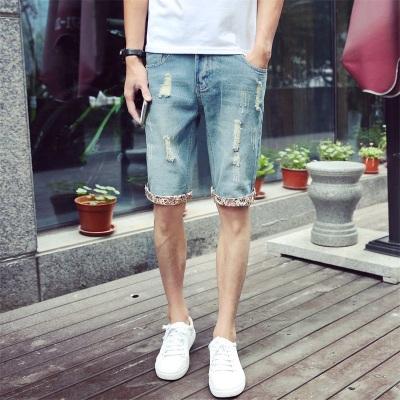 Men Retro Street Fashion 5-points Hole Tattered Denim Straight Shorts
