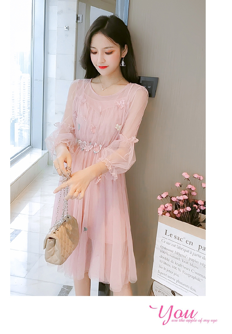 Women\'s Fairy Lace Skirt Fashion Waist Two-piece Mesh Midi Dress