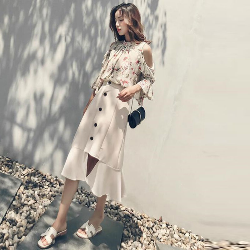 Women Casual Two-Piece Set Round Neck Chiffon Top Half-length Dress