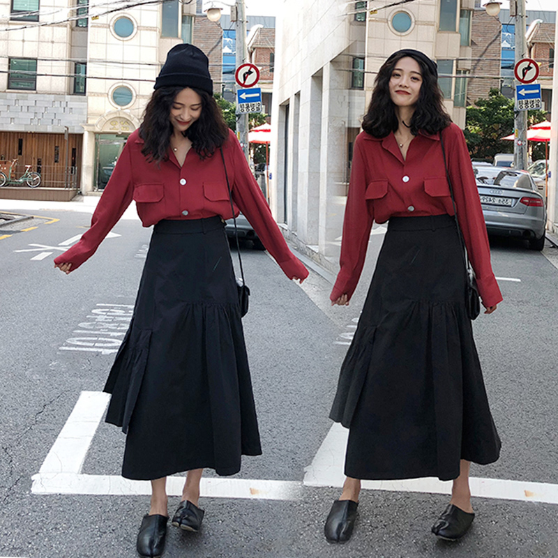 Women Office Red Long Sleeves + Black High Waisted Skirt Set
