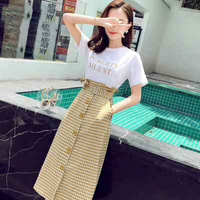 Women Casual Two-Piece Set White Shirt Plaid Buttoned Skirt