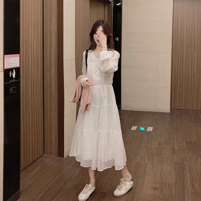 Women Casual Lace White Long-sleeved Dress
