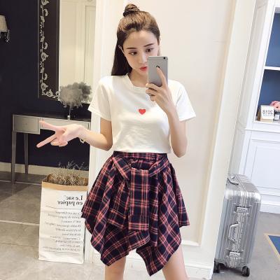 Women Fashion Heart Print Shirt + Plaid Skirt