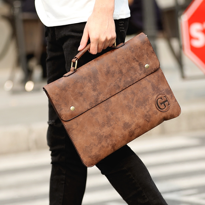 Men PU Leather Retro Document Handbag
