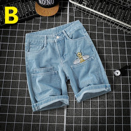 Men Clothing Casual Jeans Five Point Pants with Pocket Embroidery