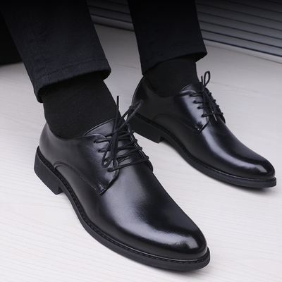 Men Casual Groom Black Leather Shoes