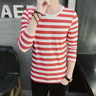 Stripe Korean Men's Round Neck Long Sleeved T-Shirt