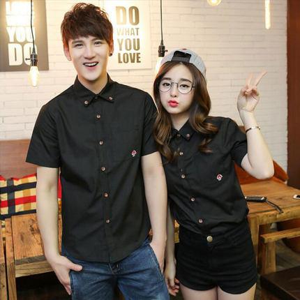 Men and Women Couple Lovers Mushroom Short Sleeve Shirt