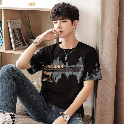 Men Clothing Fashion Summer Round Neck Short Sleeve Shirt