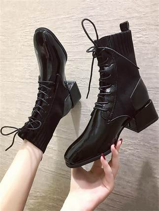 Women Thick Heel Warm Short Lace-up Boots