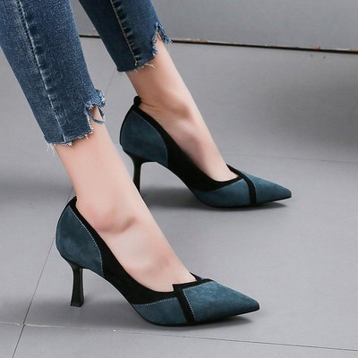 Women Shallow Mouth Two Layer Color High-heeled Shoes