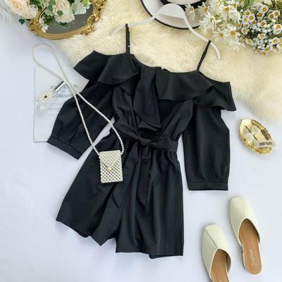Women Clothing Off-shoulder Ruffled Collar and Wide-leg Shorts Jumpsuit