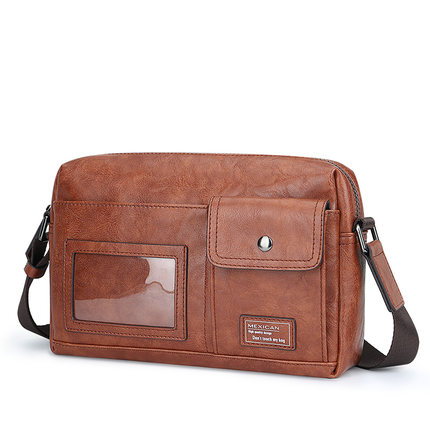 Men Casual Leather Retro Messenger Bag