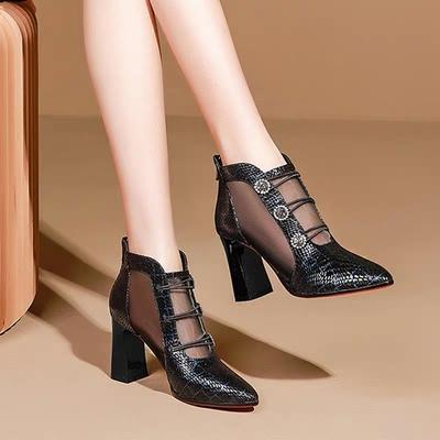 Women New Mesh Gauze High-heeled Sandals