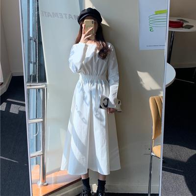 Women Clothing Long-sleeved Mid-length Pleated Skirt Dress