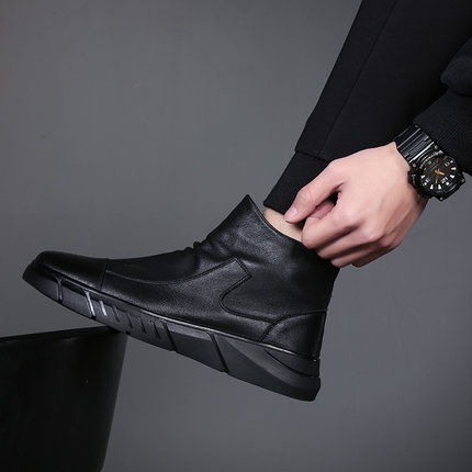 Men Mid-top Waterproof Leather Fashion Boots