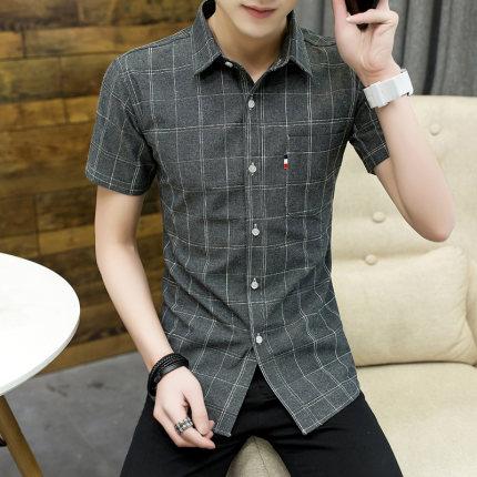 Men Clothing Short-sleeved Youth Popular Plaid Shirt