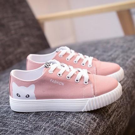 Women's Female Kitty Cute Canvas Sports Shoes