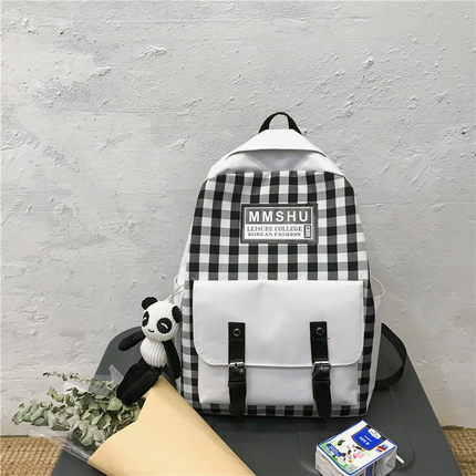 Women High School College Students Lattice Small Backpack