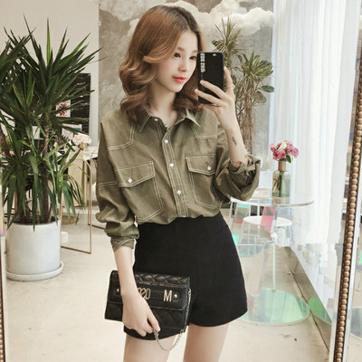 Women Clothing Loose Long Sleeve Formal Casual Shirt