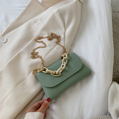 Women Soft Surface Small Square Bag Chain Handle