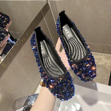 Women New Sequin Fairy Flat Bottom Scoop Shoes