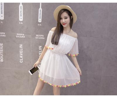 Women Chiffon Pure White Off-Shoulder Dress