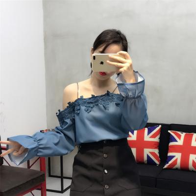 Women Sling Off Shoulder Long Sleeve Lace Dress