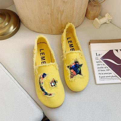 Women Flat Bottom Lazy Peas Denim Shoes
