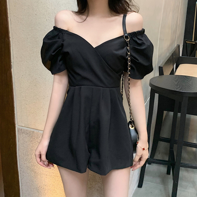 Women Clothing Sexy Strapless V-neck One-piece Wide-leg Pants Jumpsuit