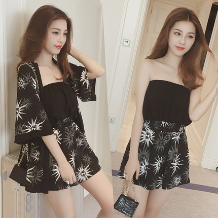 Women Clothing Sexy Strapless Two-piece Wide-leg Pants Jumpsuit