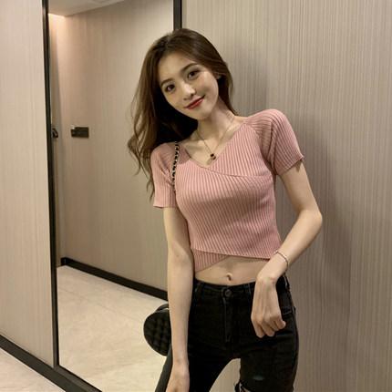 Women Clothing Cross V-neck Slim Short-sleeved Knitted Thin T-shirt