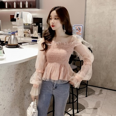 Women Clothing Super Fairy Waist Bubble Long-sleeved Top