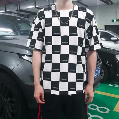 Men Clothing Loose Round Neck Five-point Sleeve Lattice Shirt