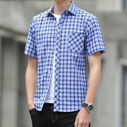 Men Clothing Plaid Long-sleeved Loose Casual Shirt