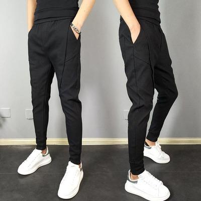 Men Clothing Low-waist Nine-point Harem Crease Pants