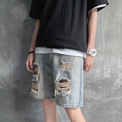 Men Clothing Loose Straight Casual Ripped Jeans Pants